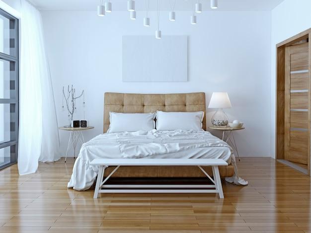 Front view interior design big modern bedroom.