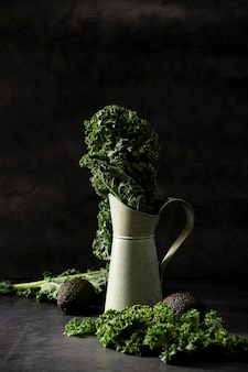Front view kale in jug