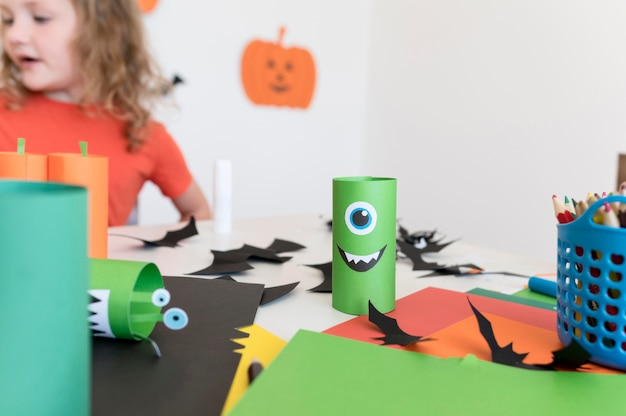 Front view of kids with halloween concept arrangements Free Photo