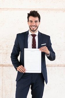 Front view lawyer holding a contract