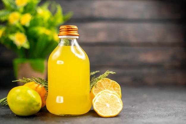 Front view lemon juice in bottle lemons cut lemons potted plant