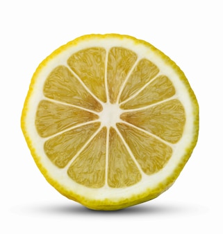 Front view of lemon slice isolated on white