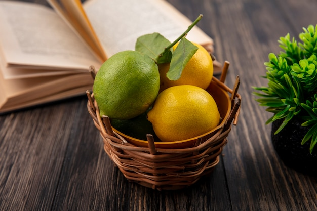 Лимоны с лаймом в корзине с открытой книгой на деревянном фоне, вид спереди