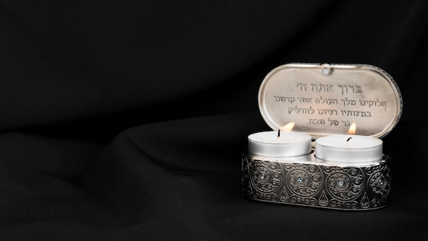 Front view of lit tea light candles for prayer