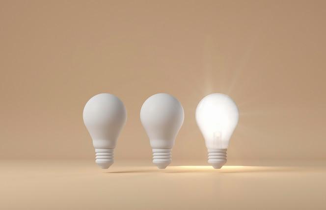 Vista frontale delle lampadine accese e spente come concetto di idea