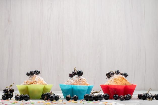 Una vista frontale piccole torte con frutti di bosco torta biscotto