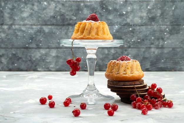 Вид спереди маленькие d торты со сливками и красной клюквой на светлой поверхности фруктов