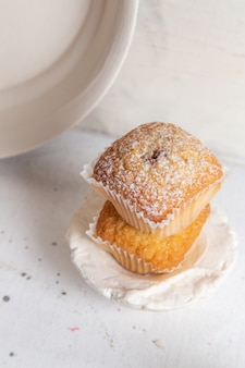 Front view of little yummy cakes inside paper forms with sugar powder on the white surface