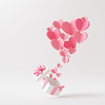 Front view of lots of pink hearts coming out of a present box