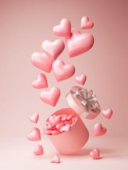 Vista frontale di tanti cuori rosa che escono da una scatola regalo