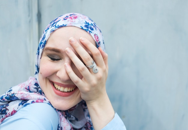 Front view of lovely woman with hijab