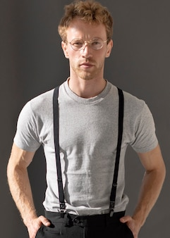 Front view male model wearing suspenders accessory