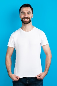 Front view of man in simple t-shirt