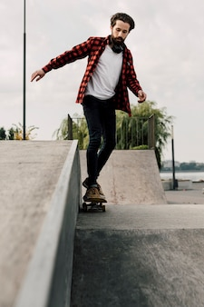 Front view of man at skate park