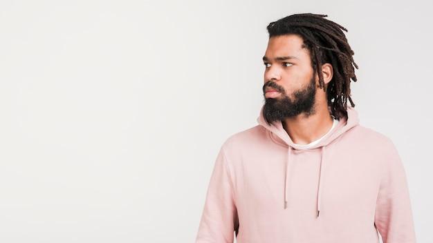Front view man in asweatshirt
