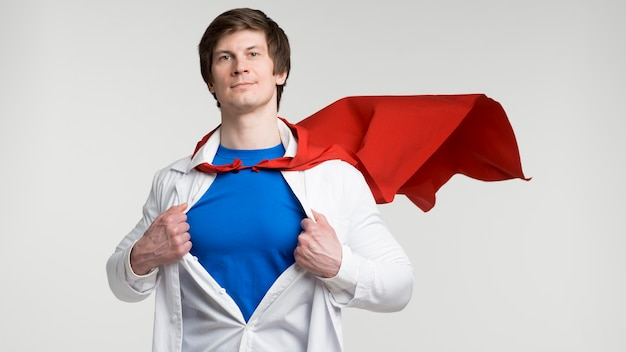 Front view man with red cape