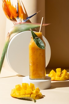 Front view mango juice in bottle