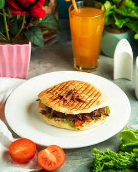 Front view meat doner in bread with tomato