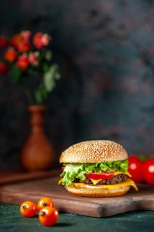 Front view meat hamburger with fresh tomatoes on dark background