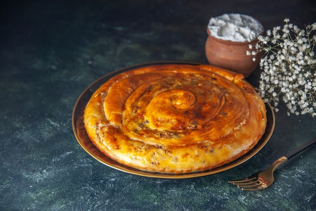 Front view meat pie inside pan on dark background pastry bake biscuit dough color food oven pie