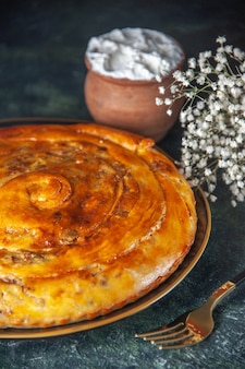 Вид спереди мясной пирог внутри сковороды на темном фоне, выпечка, выпечка, бисквитное тесто, цвет еды, духовка, пироги