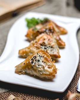 Front view meat samsa with sesame seeds and poppies