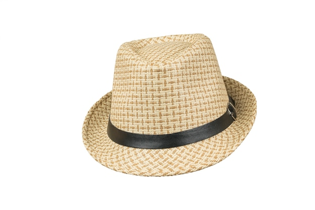 Front view of a men's summer hat isolated on a white surface. classic men's headdress.