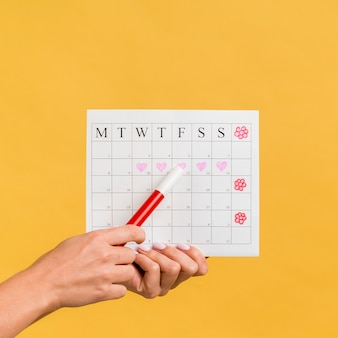 Front view menstruation calendar with hearts and flowers