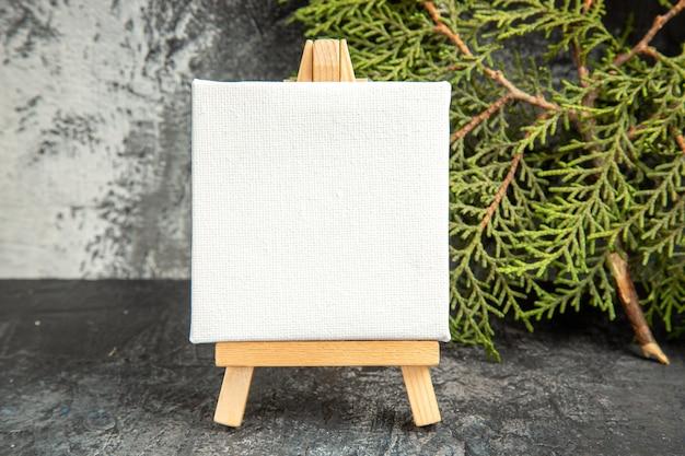 Mini tela vista frontale su ramo di pino da cavalletto in legno su sfondo grigio