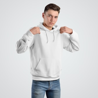 若い男性のための正面図のモックアップパーカーテンプレート。白い服のデザイン。店舗販売のプレゼンテーション。