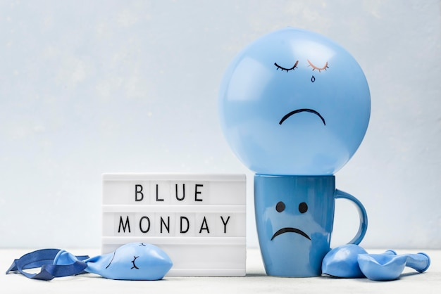 Front view of mug with frown for blue monday