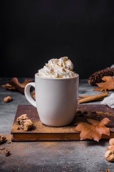 Front view mug with hot drink and whipped cream