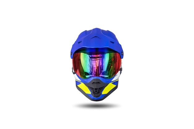 Front view of a multi colored motocross helmet isolated