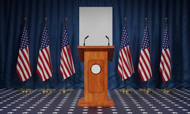 Vista frontale di più bandiere americane e podio per le elezioni americane