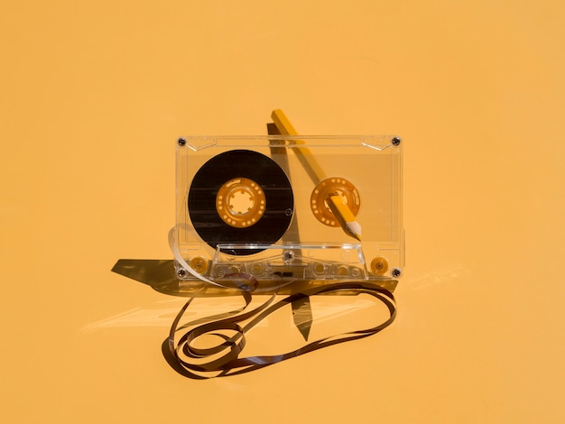 Front view of music concept with casette