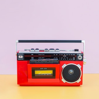 Front view of music concept with radio