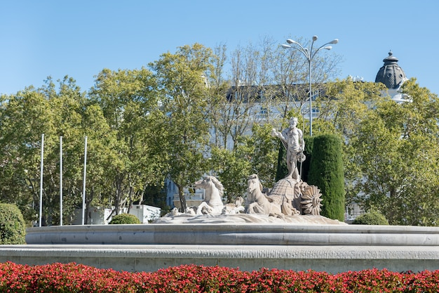 Front view of neptunes fountain with flowers in madrid spain