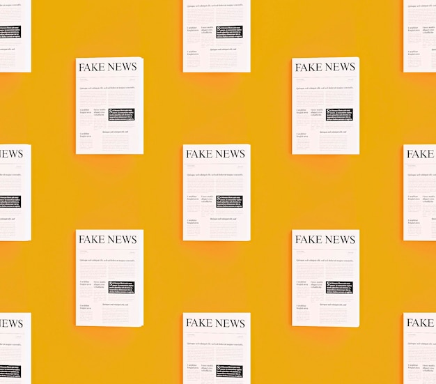 Front view of newspapers with fake news