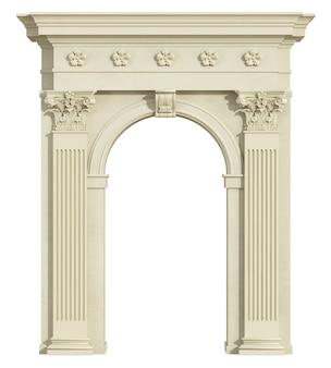 白で隔離されるコリント式の柱を持つ古典的なアーチの正面図。 3dレンダリング
