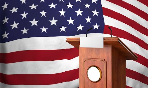 Вид спереди американского флага с трибуной для выборов в сша