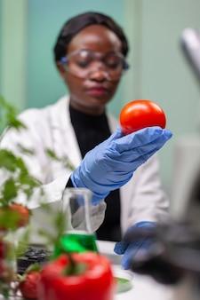 과학 농업 실험을 위해 화학 dna가 주입 된 토마토를 분석하는 생물 학자 reseacher 여자의 전면보기