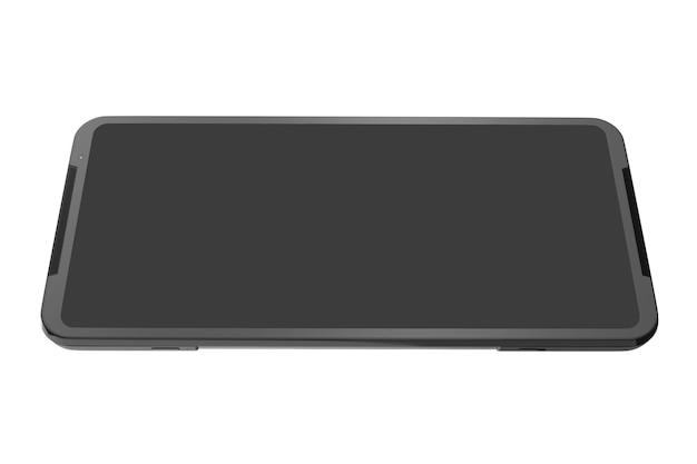 모바일 게임의 빈 화면 개념이 있는 검은색 스마트폰의 전면 보기