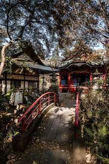 Вид спереди моста с японским храмом