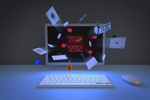 コンピューターのモニターから出てくるチップ、カード、サイコロの正面図。オンラインゲームのコンセプト。