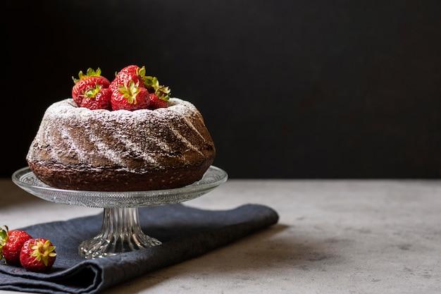 Вид спереди концепции шоколадного торта