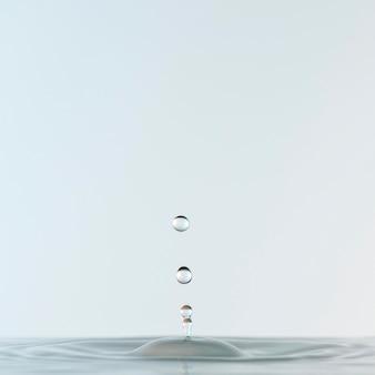 Вид спереди прозрачных капель в жидкости