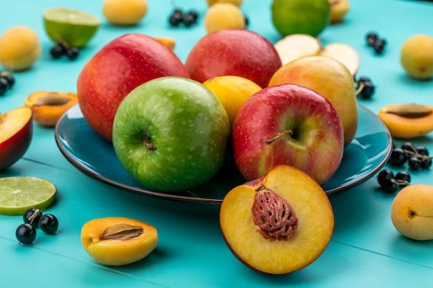 Вид спереди цветных яблок в тарелке с абрикосами, лаймом и черной смородиной на светло-голубой поверхности