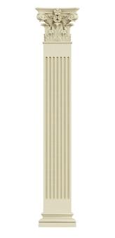 白で隔離されるコリント式の柱の正面図。 3dレンダリング