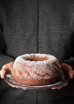 Вид спереди концепции вкусного торта