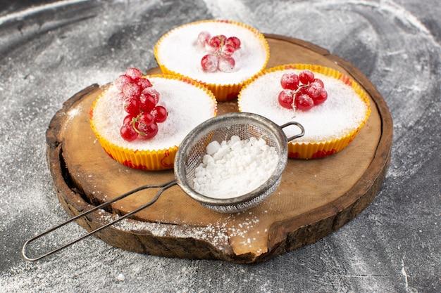 トップシュガーピースとパウダーに赤いクランベリーとおいしいクランベリーケーキの正面図